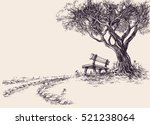 park sketch. a wooden bench... | Shutterstock .eps vector #521238064