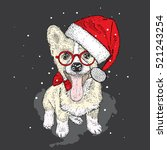 cute puppy in a christmas hat... | Shutterstock .eps vector #521243254