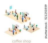 isometric interior of coffee... | Shutterstock .eps vector #521253559