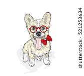 cute puppy with glasses and tie.... | Shutterstock .eps vector #521253634