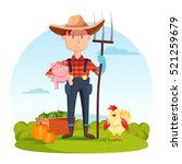 farmer with pitchfork and pork  ... | Shutterstock .eps vector #521259679