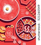 chinese new year snack plate... | Shutterstock .eps vector #521260549
