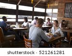 young couples eating lunch... | Shutterstock . vector #521261281