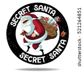 cartoon secret santa stamp icon.... | Shutterstock .eps vector #521264851