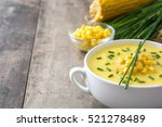 corn soup in white bowl on... | Shutterstock . vector #521278489