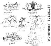 hand drawn nature landscape... | Shutterstock .eps vector #521281159