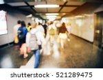 blur image of people walking in ... | Shutterstock . vector #521289475