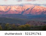 Stock photo horizontal image of pine valley mountain in southern utah at sunrise in late november with snow on 521291761