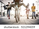 group of active teenagers in... | Shutterstock . vector #521294059