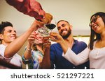 friends having fun and making... | Shutterstock . vector #521297221