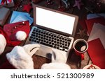 santa claus working on computer.... | Shutterstock . vector #521300989