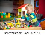 children play with wooden toy ... | Shutterstock . vector #521302141