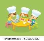 children cooking cookies | Shutterstock .eps vector #521309437