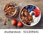 bowl of homemade granola with... | Shutterstock . vector #521309641
