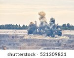 Small photo of Explosion blast in open cast mining quarry mine