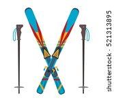 ski and sticks vector... | Shutterstock .eps vector #521313895