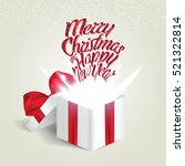 open gift box with a red bow.... | Shutterstock .eps vector #521322814