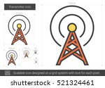 transmitter vector line icon...
