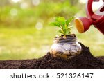 jar with money and watering can ... | Shutterstock . vector #521326147