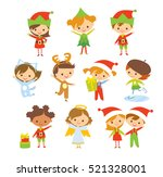 set of cute kids in christmas... | Shutterstock .eps vector #521328001