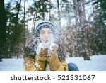 Beautiful Woman Blowing Snow....