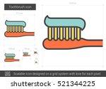 toothbrush vector line icon... | Shutterstock .eps vector #521344225