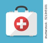 white first aid kit isolated on ... | Shutterstock .eps vector #521345101