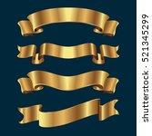 set of golden ribbons on dark...   Shutterstock .eps vector #521345299