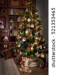 classic christmas tree in room... | Shutterstock . vector #521353465