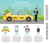 taxi driver call with... | Shutterstock .eps vector #521353537
