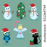 snowmen  cute owl  black cat... | Shutterstock .eps vector #521369749
