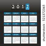 2017 year color calendar... | Shutterstock .eps vector #521372365