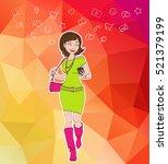 pretty girl walking with... | Shutterstock .eps vector #521379199