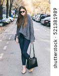 beautiful brunette fashion... | Shutterstock . vector #521381989