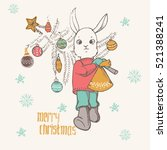 hand dawn funny rabbit with... | Shutterstock .eps vector #521388241