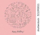 birthday decorative festive... | Shutterstock .eps vector #521393011