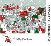merry christmas postcard with... | Shutterstock .eps vector #521393299