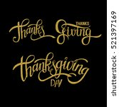 golden hand drawn thanksgiving... | Shutterstock . vector #521397169