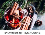 mulled wine with cowberry ... | Shutterstock . vector #521400541
