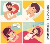 sleeping man. cartoon boy at... | Shutterstock .eps vector #521400889