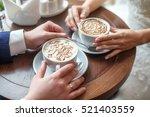 hands of bride and groom with... | Shutterstock . vector #521403559