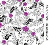 seamless flowers pattern | Shutterstock .eps vector #521404789