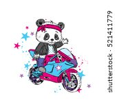 cute panda on a motorcycle.... | Shutterstock .eps vector #521411779