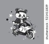 cute panda on a motorcycle.... | Shutterstock .eps vector #521411839