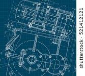 mechanical engineering drawing. ... | Shutterstock .eps vector #521412121