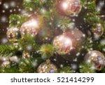 blurred many gold balls... | Shutterstock . vector #521414299