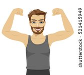 young man showing his muscles.... | Shutterstock .eps vector #521415949