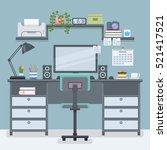 workspace for freelancer in...   Shutterstock .eps vector #521417521