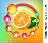 orange vitamins infographic... | Shutterstock .eps vector #521418625