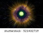 neon atomic particle  3d... | Shutterstock . vector #521432719